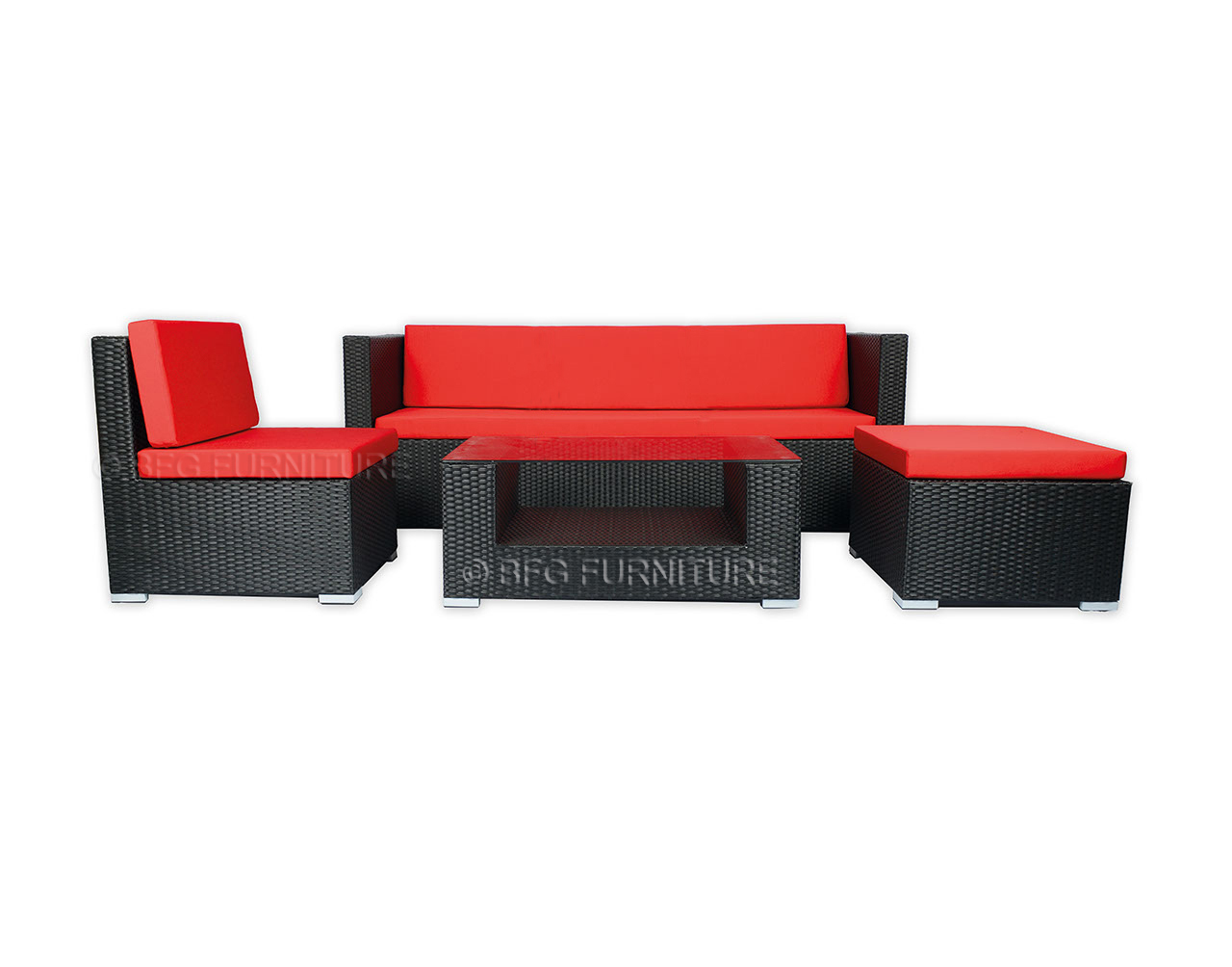 Ponceau Sofa Set - Red Cushions