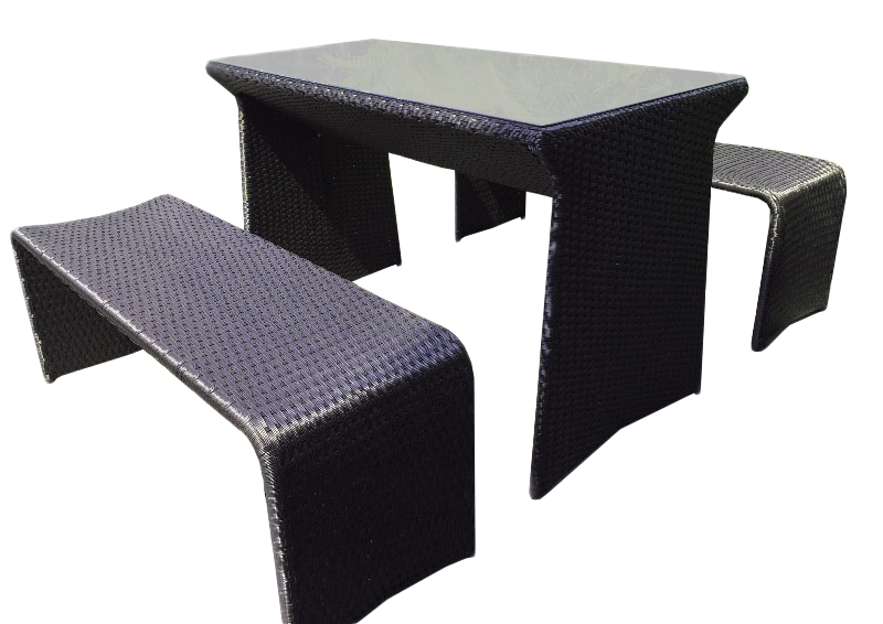 Rattan Picnic Table and Bench Set