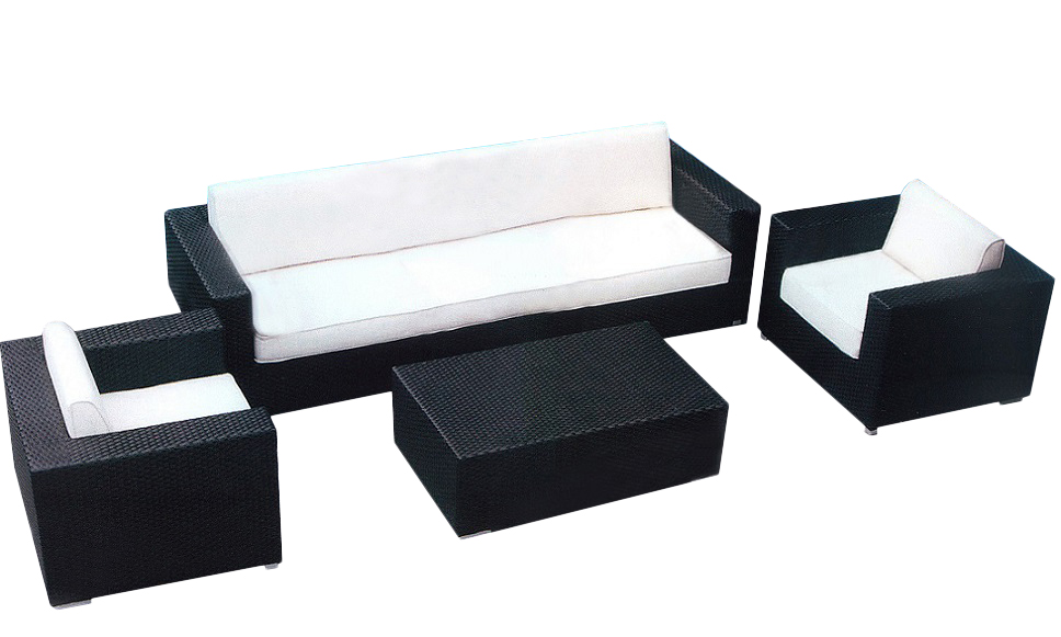Tahitian Sofa Set - White Cushions