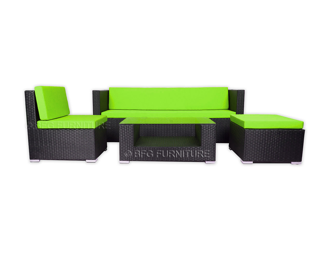 Ponceau Sofa Set - Green Cushions